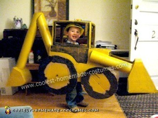 Homemade Backhoe and Driver Halloween Costume